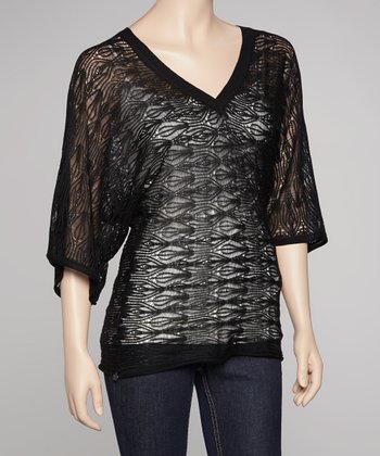 Black Sheer Penelope V-Neck Sweater