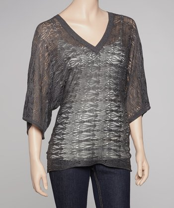 Charcoal Sheer Penelope V-Neck Sweater