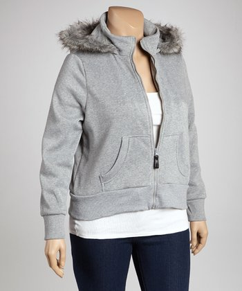 Light Heather Gray Fur-Trim Zip-Up Hoodie - Plus