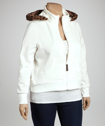 Ivory Fur-Trim Zip-Up Hoodie - Plus