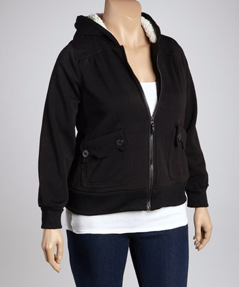 Black Ink Scalloped Pocket Zip-Up Hoodie
