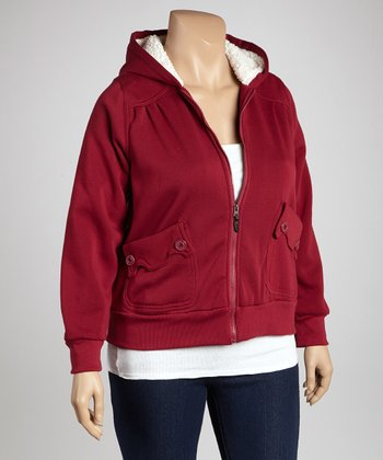 Boysenberry Scalloped Pocket Zip-Up Hoodie