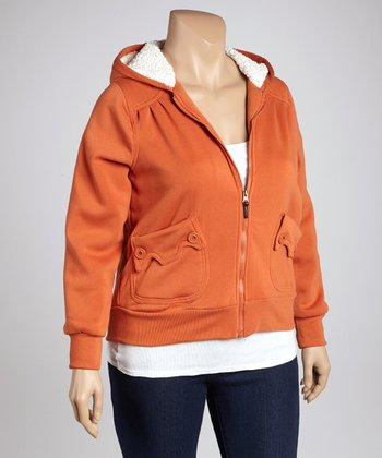 Spiced Pumpkin Scalloped Pocket Zip-Up Hoodie