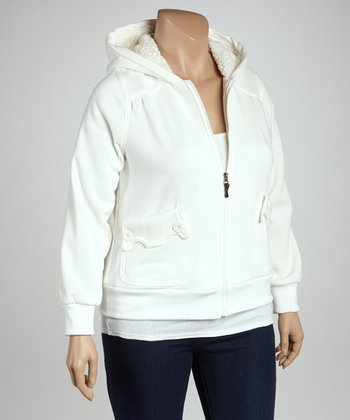 Ivory Scalloped Pocket Zip-Up Hoodie