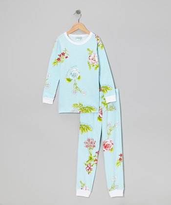 Aqua Botanical Pajama Set - Toddler & Girls