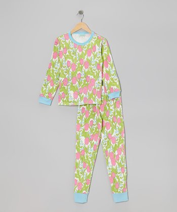 Pink Holland Tulip Pajama Set - Toddler