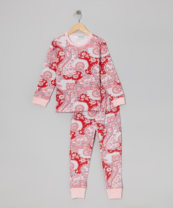 Red Palm Springs Pajama Set - Toddler & Girls