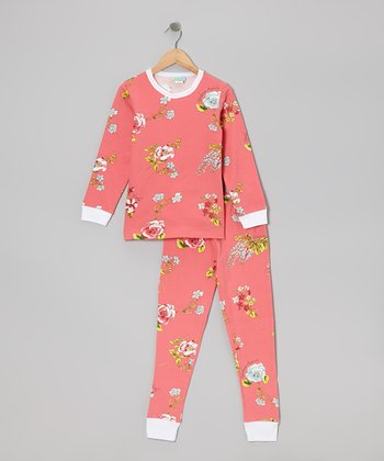 Coral Botanical Pajama Set - Toddler & Girls