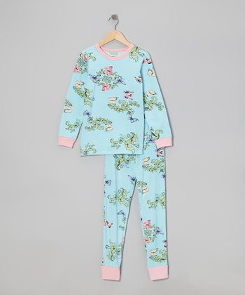 Blue Madame Butterfly Pajama Set - Toddler & Girls