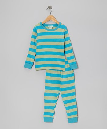 Teal & Green Stripe Long-Sleeve Pajama Set - Toddler & Kids