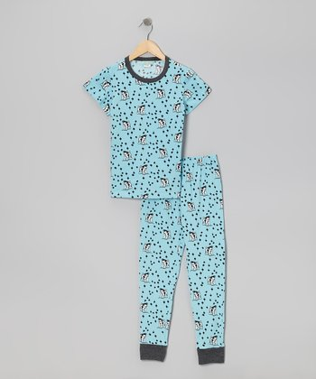 Aqua Puppy Love Short-Sleeve Pajama Set - Toddler & Girls