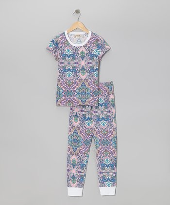 Pink Rivera Short-Sleeve Pajama Set - Toddler
