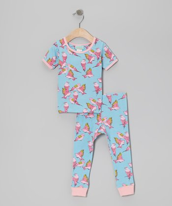 Pink & Aqua Cabana Bird Short-Sleeve Pajama Set - Infant