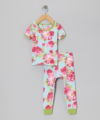Summer Cabbage Rose Short-Sleeve Pajama Set - Infant