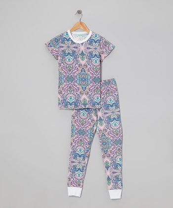 Pink Rivera Short-Sleeve Pajama Set - Girls
