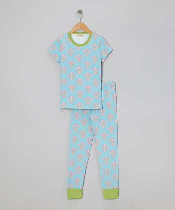 Pink Florentine Short-Sleeve Pajama Set - Girls