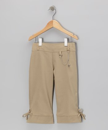 Khaki Chain Capri Pants - Girls