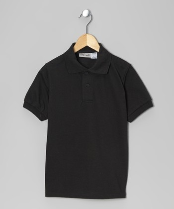 Black Pique Polo - Boys