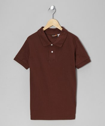 Brown Pique Polo - Boys