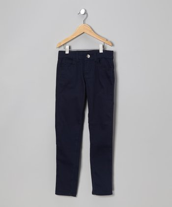 Navy Super-Soft Skinny Pants - Girls