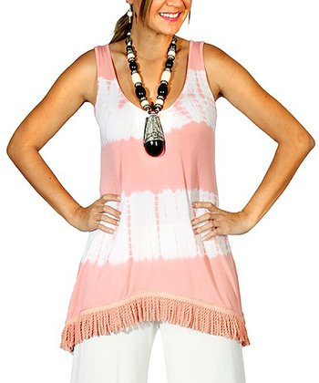 Coral Stripe Tie-Dye Lace-Trim Tank - Women