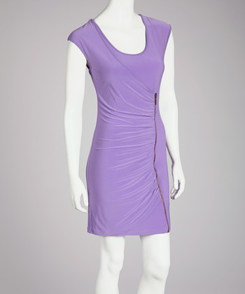Lilac Ruched Scoop Neck Dress