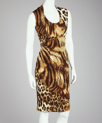 Beige Animal Sleeveless Dress - Women