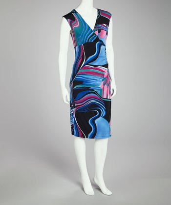 Purple & Blue Abstract V-Neck Dress - Women