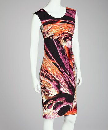 Coral & Black Abstract Faux Wrap Dress - Women