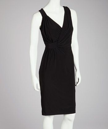 Black Faux Wrap Dress - Women