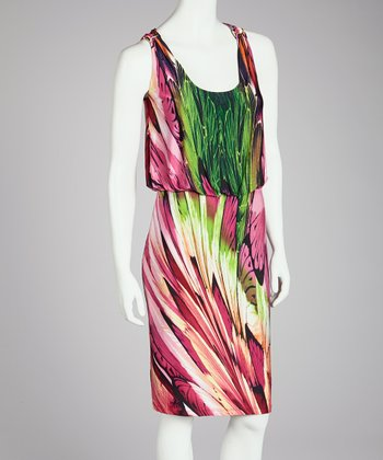 Pink & Green Abstract Scoop Neck Dress - Women