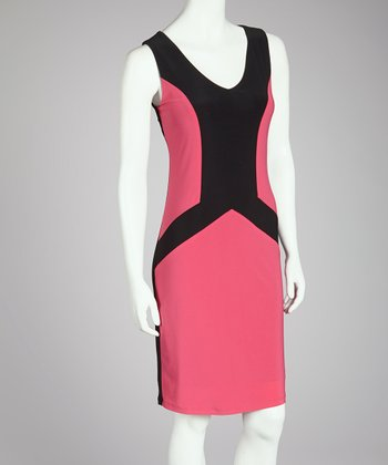 Pink & Black Color Block Shift Dress - Women