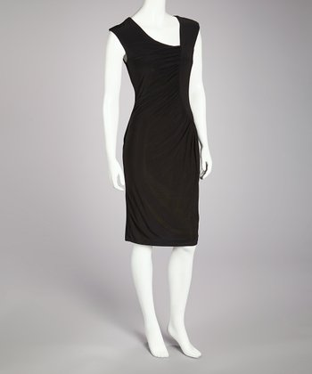 Black Ruched Dress - Women