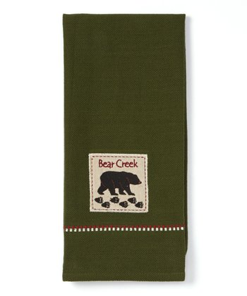Outdoors Bear Applique Dish Towel - Set of Two