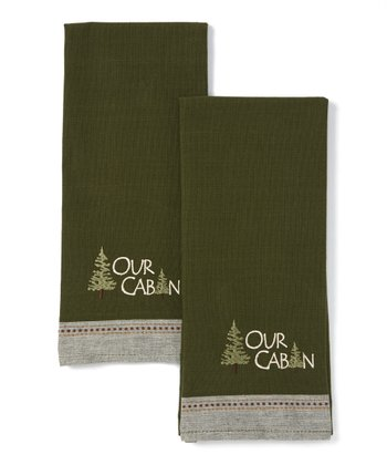 'Our Cabin' Embroidered Dish Towel - Set of Two
