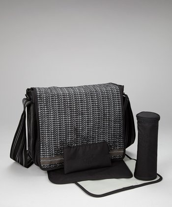 Petite Black Casual Messenger Diaper Bag
