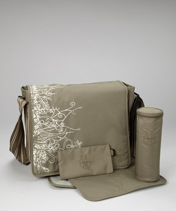 Vertical Olive Casual Messenger Diaper Bag