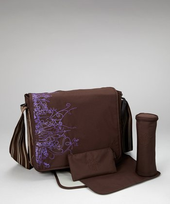 Vertical Chocolate Casual Messenger Diaper Bag