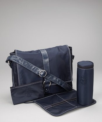 Navy Small Messenger Diaper Bag