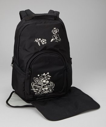Black Marv Leaves & Blossom Diaper Backpack