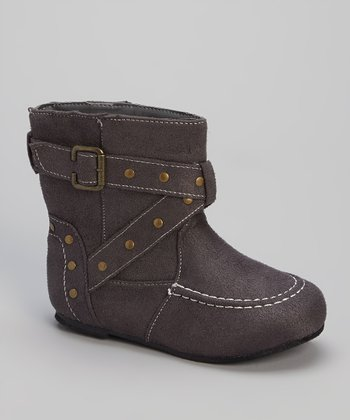 Gray Studded Buckle Boot