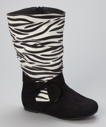 Black Zebra Bow Boot