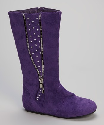Purple Rhinestone Zipper Boot