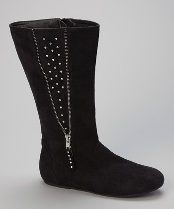 Black Rhinestone Zipper Boot