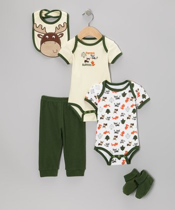Green 'Forest Buddies' Bodysuit Set - Infant