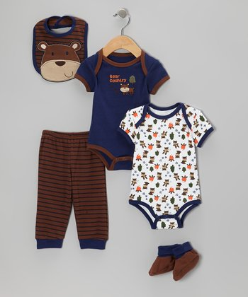 Brown 'Bear Country' Bodysuit Set - Infant