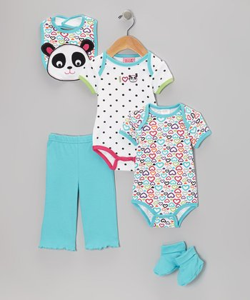 Blue 'I Love Pandas' Bodysuit Set - Infant