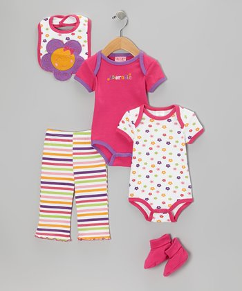Hot Pink 'Adorable' Bodysuit Set - Infant