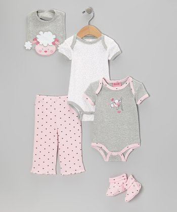 Gray Lamb Bodysuit Set - Infant