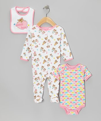 Pink 'Sweet Heart' Footie Set - Infant